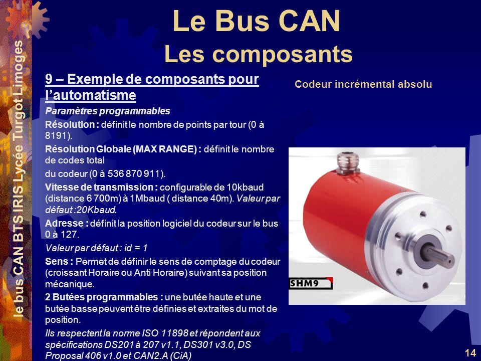 Le Bus CAN le bus CAN BTS IRIS Lycée Turgot Limoges 14 9 – Exemple de composants pour lautomatisme Paramètres programmables Résolution : définit le nombre de points par tour (0 à 8191).