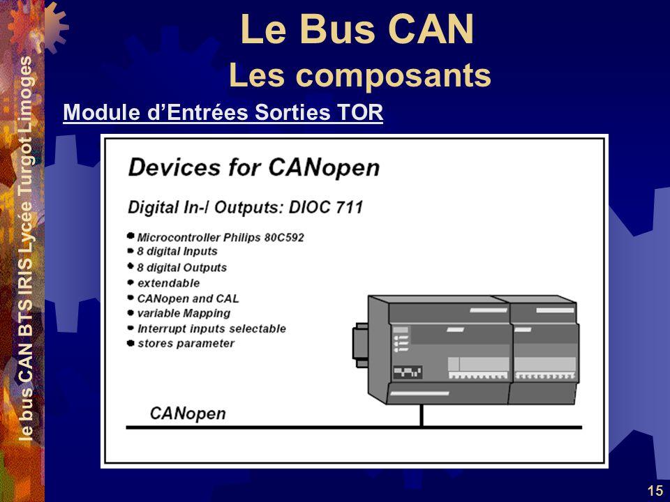 Le Bus CAN le bus CAN BTS IRIS Lycée Turgot Limoges 15 Module dEntrées Sorties TOR Les composants