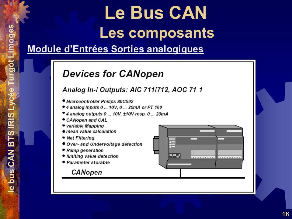 Le Bus CAN le bus CAN BTS IRIS Lycée Turgot Limoges 16 Module dEntrées Sorties analogiques Les composants