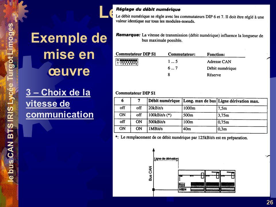 Le Bus CAN le bus CAN BTS IRIS Lycée Turgot Limoges 26 3 – Choix de la vitesse de communication Exemple de mise en œuvre