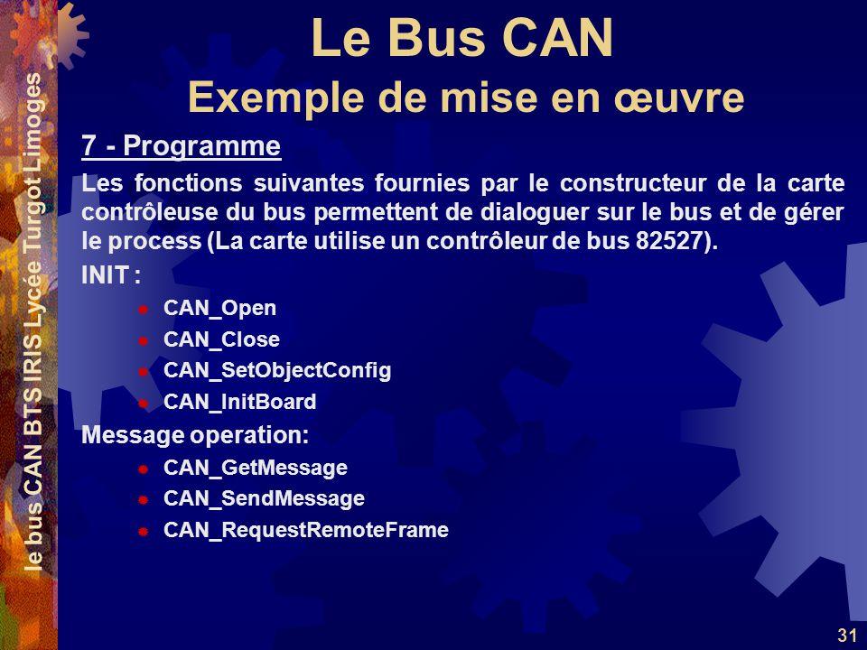 Le Bus CAN le bus CAN BTS IRIS Lycée Turgot Limoges 31 7 - Programme Les fonctions suivantes fournies par le constructeur de la carte contrôleuse du bus permettent de dialoguer sur le bus et de gérer le process (La carte utilise un contrôleur de bus 82527).