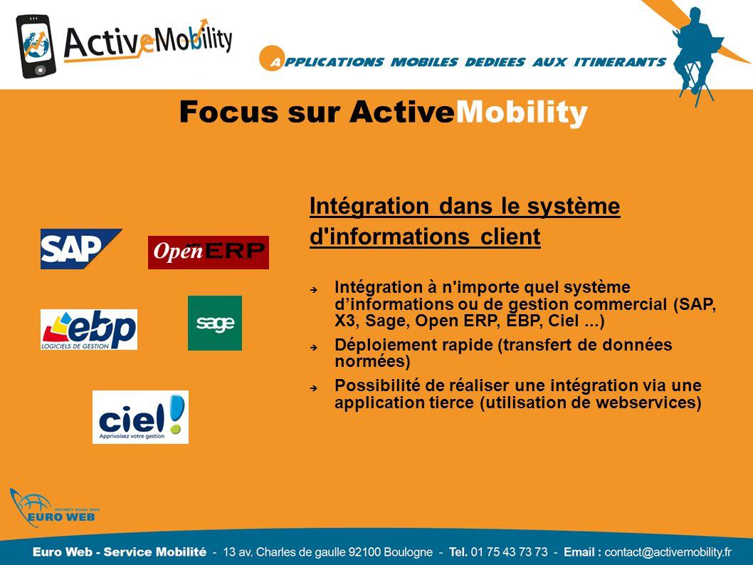 Focus sur ActiveMobility Intégration dans le système d'informations client Intégration à n'importe quel système dinformations ou de gestion commercial