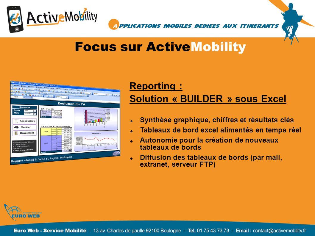Reporting : Solution « BUILDER » sous Excel Synthèse graphique, chiffres et résultats clés Tableaux de bord excel alimentés en temps réel Autonomie po