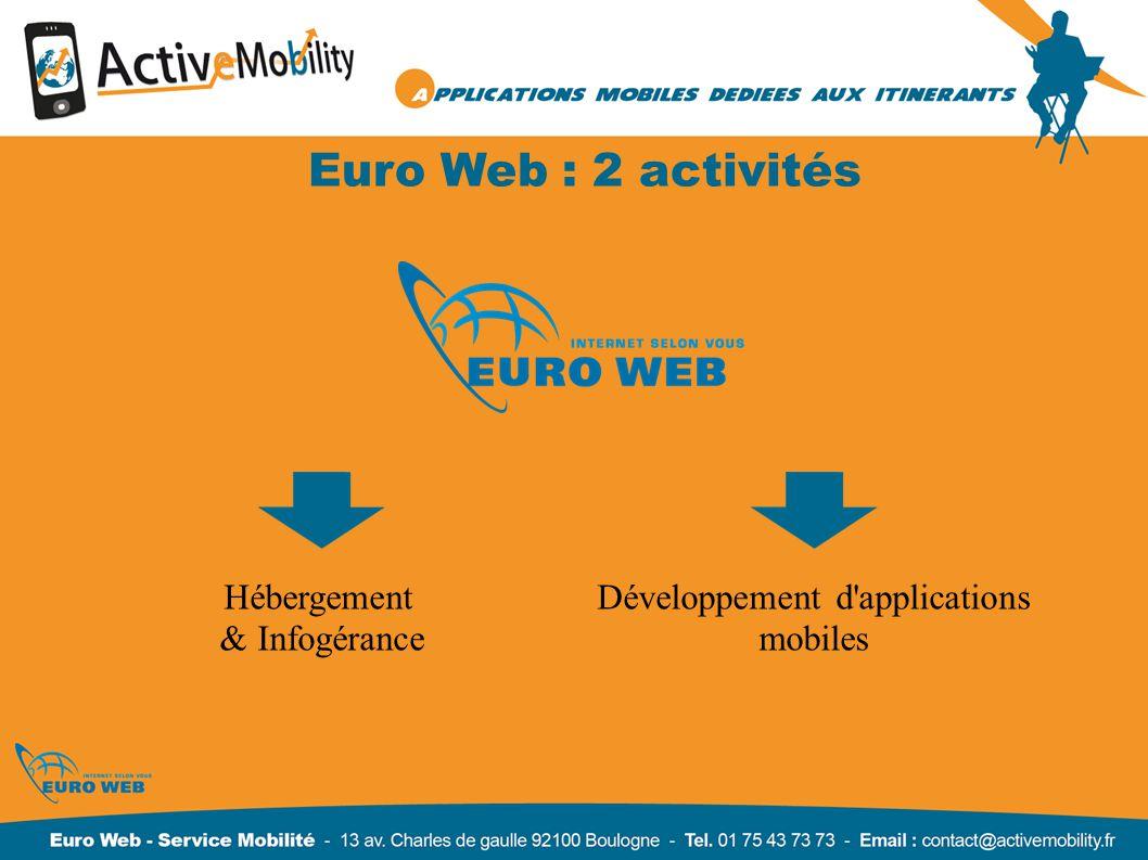 Euro Web : 2 activités Hébergement & Infogérance Développement d'applications mobiles