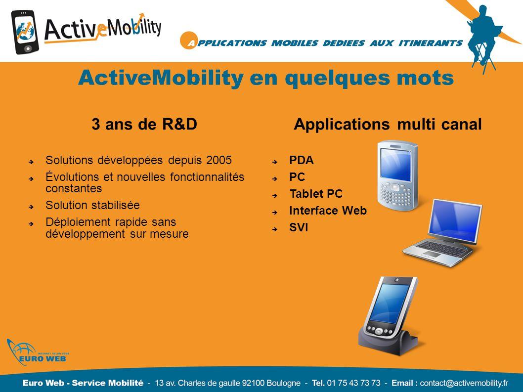 Focus sur ActiveMobility Application mobile multicanal MobiliSales Vocal L utilisateur compose un numéro de téléphone, saisit son nom d utilisateur et son mot de passe, et se laisse guider par la voix.