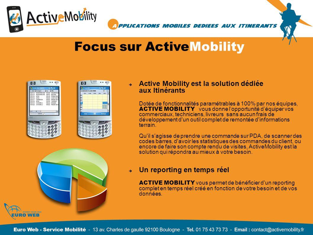 Focus sur ActiveMobility Active Mobility est la solution dédiée aux Itinérants Dotée de fonctionnalités paramétrables à 100% par nos équipes, ACTIVE M