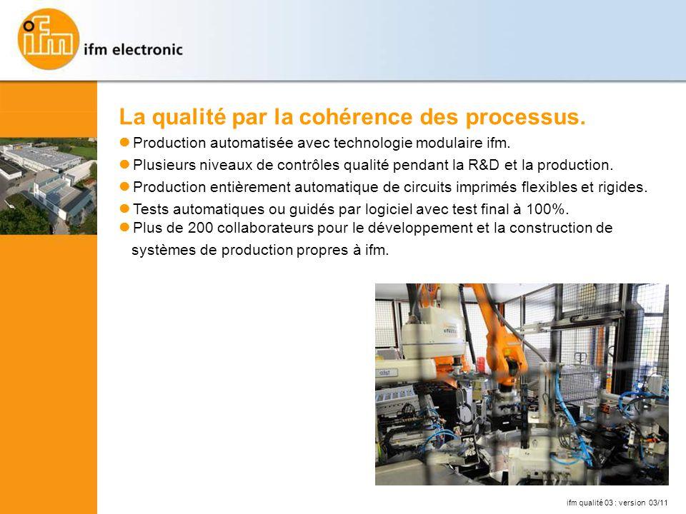 La qualité par la cohérence des processus.Production automatisée avec technologie modulaire ifm.