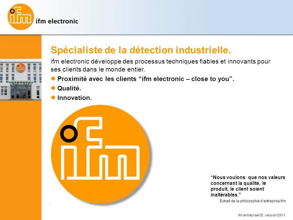 ifm entreprise 02 : version 03/11 Spécialiste de la détection industrielle.