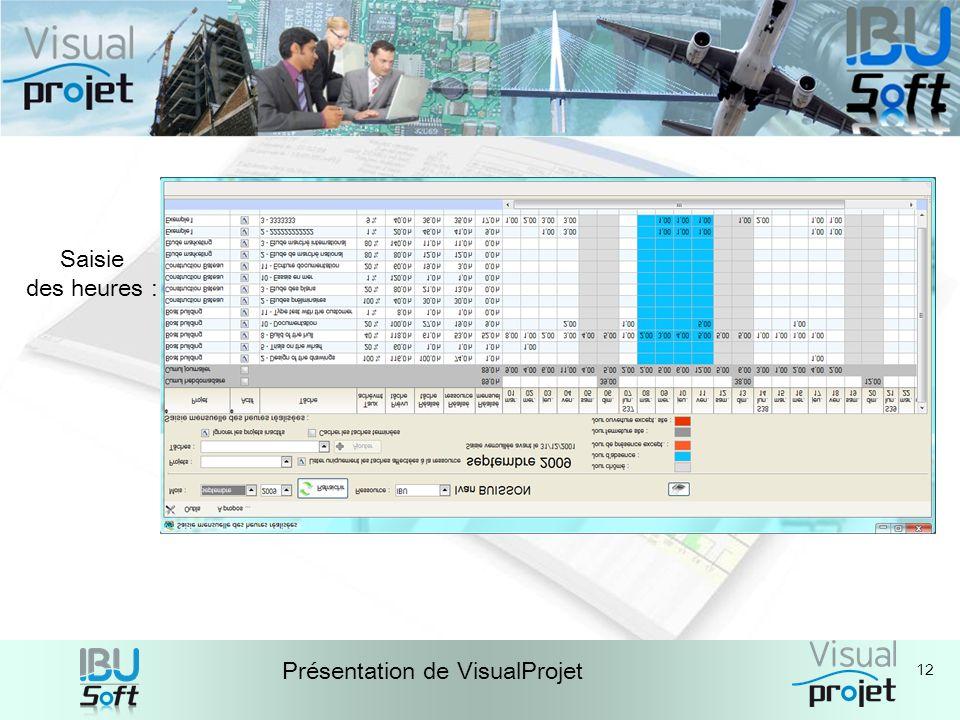 12 Présentation de VisualProjet Saisie des heures :