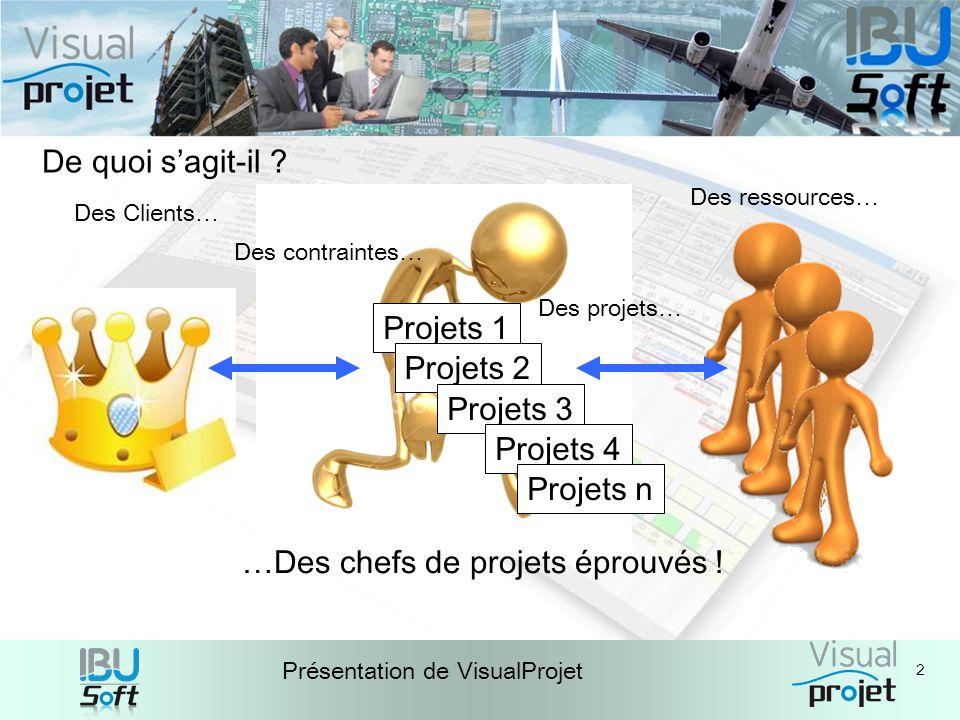 2 Présentation de VisualProjet Des ressources… …Des chefs de projets éprouvés ! De quoi sagit-il ? Des Clients… Projets 1 Projets 2 Projets 3 Projets