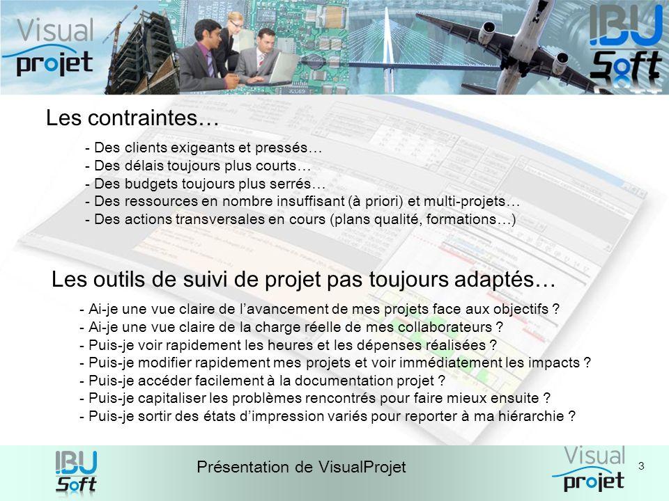 4 Présentation de VisualProjet Loutil proposé : VisualProjet… - Fruit dune double expérience en gestion de projets/équipes et en développement de logiciels - Complet et simple dutilisation - Utilisé et éprouvé par de nombreuses PME/PMI, services et administrations - Rapport possibilités/prix très avantageux - Installation facile et rapide (serveur + application) - Mises à jour fréquentes pour de nouvelles fonctionnalités - Améliorations permanentes, avec compatibilité ascendante - Possibilité daccès WEB en client complet - Hot-line, formations