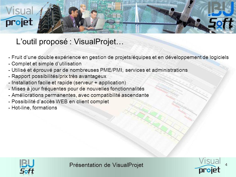 4 Présentation de VisualProjet Loutil proposé : VisualProjet… - Fruit dune double expérience en gestion de projets/équipes et en développement de logi