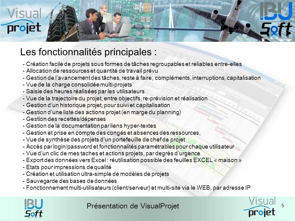 5 Présentation de VisualProjet Les fonctionnalités principales : - Création facile de projets sous formes de tâches regroupables et reliables entre-el