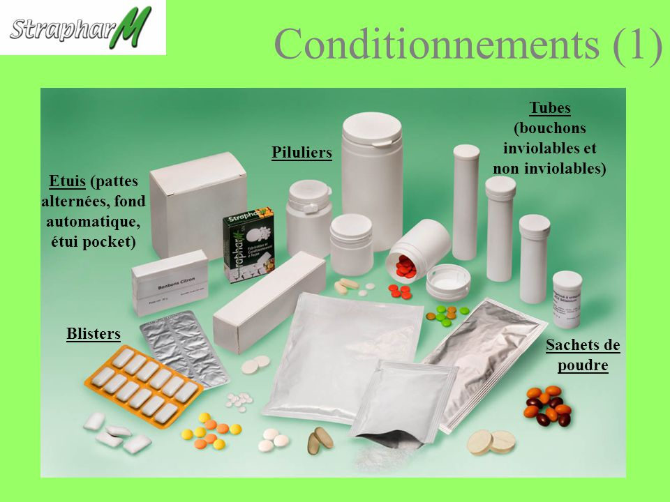 Conditionnements (1) Tubes (bouchons inviolables et non inviolables) Piluliers Etuis (pattes alternées, fond automatique, étui pocket) Blisters Sachets de poudre