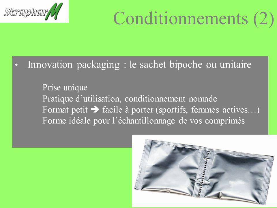 Conditionnements (2) Innovation packaging : le sachet bipoche ou unitaire Prise unique Pratique dutilisation, conditionnement nomade Format petit facile à porter (sportifs, femmes actives…) Forme idéale pour léchantillonnage de vos comprimés