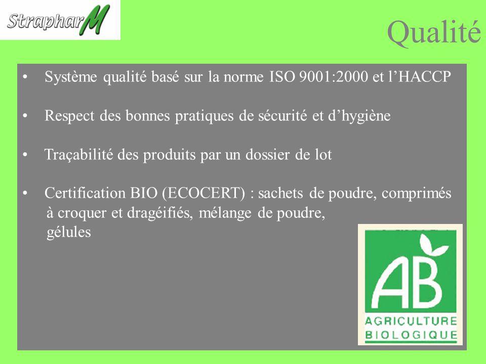 Qualité Système qualité basé sur la norme ISO 9001:2000 et lHACCP Respect des bonnes pratiques de sécurité et dhygiène Traçabilité des produits par un dossier de lot Certification BIO (ECOCERT) : sachets de poudre, comprimés à croquer et dragéifiés, mélange de poudre, gélules