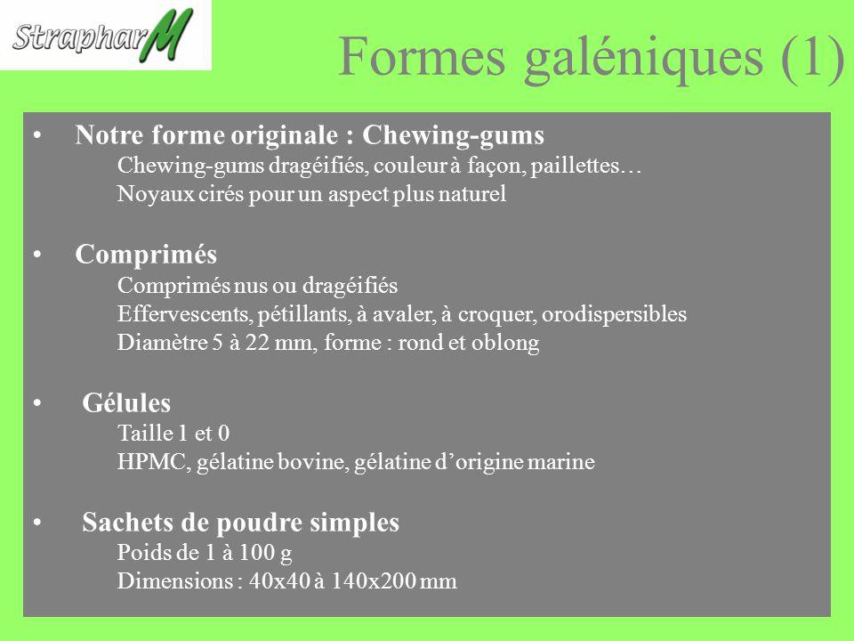 Formes galéniques (1) Notre forme originale : Chewing-gums Chewing-gums dragéifiés, couleur à façon, paillettes… Noyaux cirés pour un aspect plus naturel Comprimés Comprimés nus ou dragéifiés Effervescents, pétillants, à avaler, à croquer, orodispersibles Diamètre 5 à 22 mm, forme : rond et oblong Gélules Taille 1 et 0 HPMC, gélatine bovine, gélatine dorigine marine Sachets de poudre simples Poids de 1 à 100 g Dimensions : 40x40 à 140x200 mm