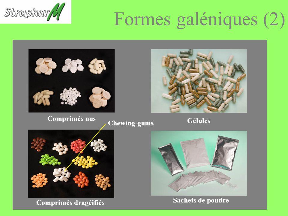 Formes galéniques (2) Comprimés nus Sachets de poudre Gélules Comprimés dragéifiés Chewing-gums