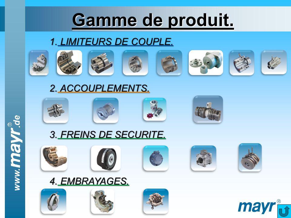 Gamme de produit. 1. LIMITEURS DE COUPLE. 2. ACCOUPLEMENTS. 3. FREINS DE SECURITE. 4. EMBRAYAGES.
