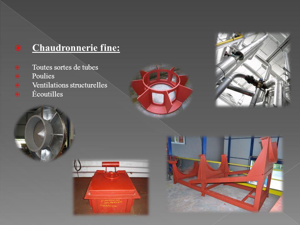 Chaudronnerie fine: Toutes sortes de tubes Poulies Ventilations structurelles Écoutilles