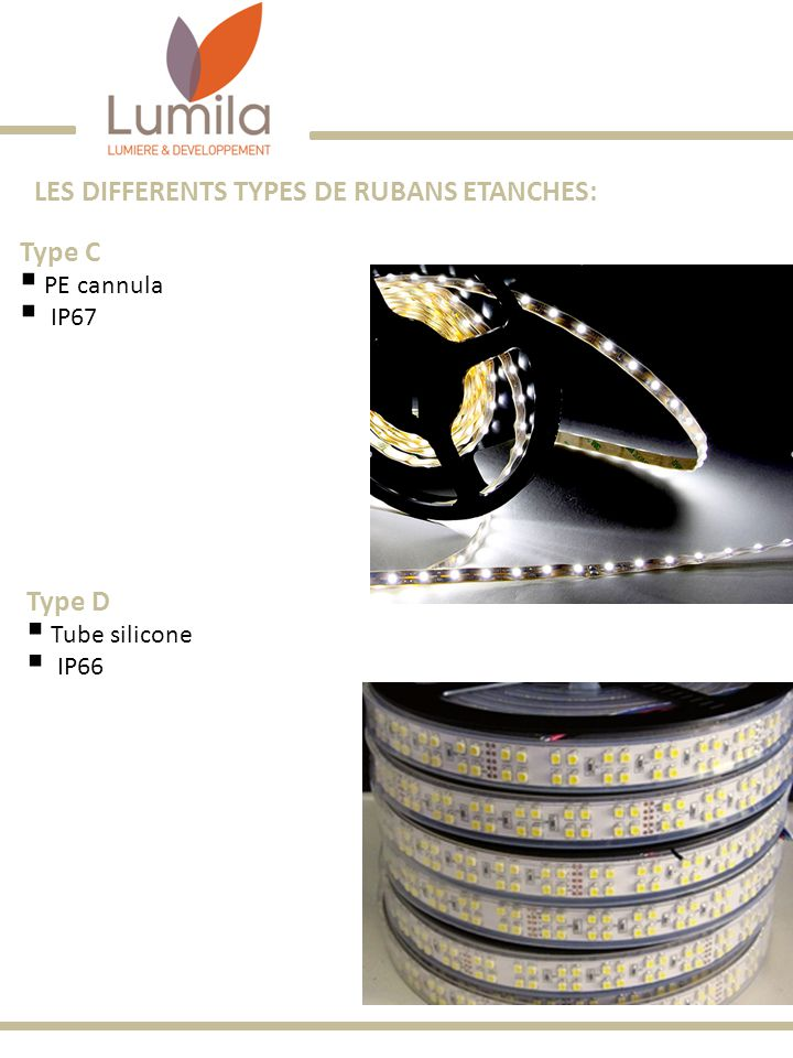 LES DIFFERENTS TYPES DE RUBANS ETANCHES: Type C PE cannula IP67 Type D Tube silicone IP66