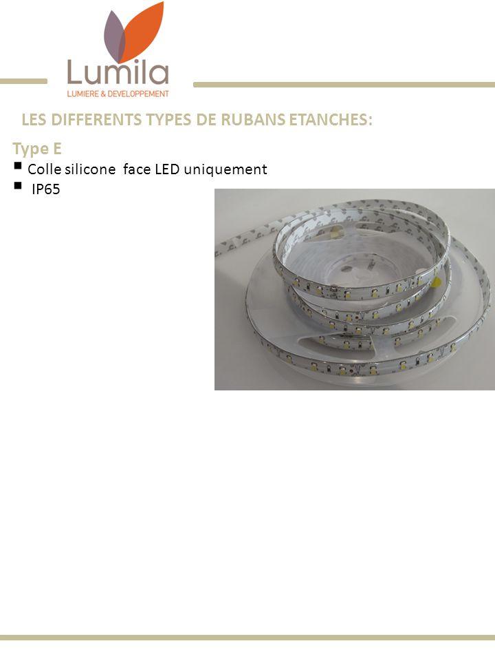 LES DIFFERENTS TYPES DE RUBANS ETANCHES: Type E Colle silicone face LED uniquement IP65