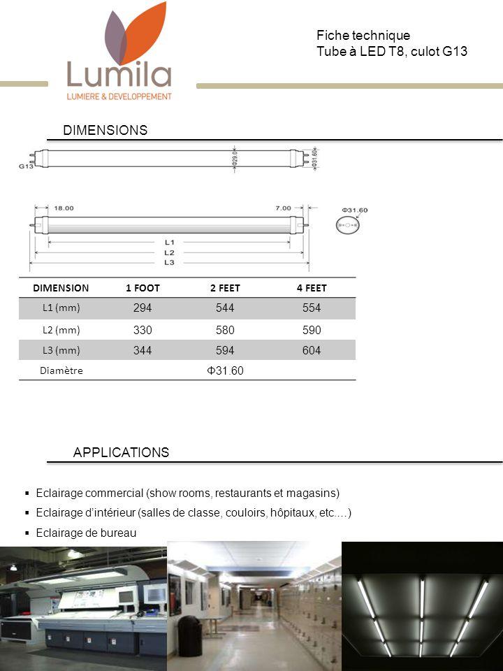 DIMENSIONS DIMENSION1 FOOT2 FEET4 FEET L1 (mm) 294544554 L2 (mm) 330580590 L3 (mm) 344594604 Diamètre Φ31.60 Eclairage commercial (show rooms, restaur