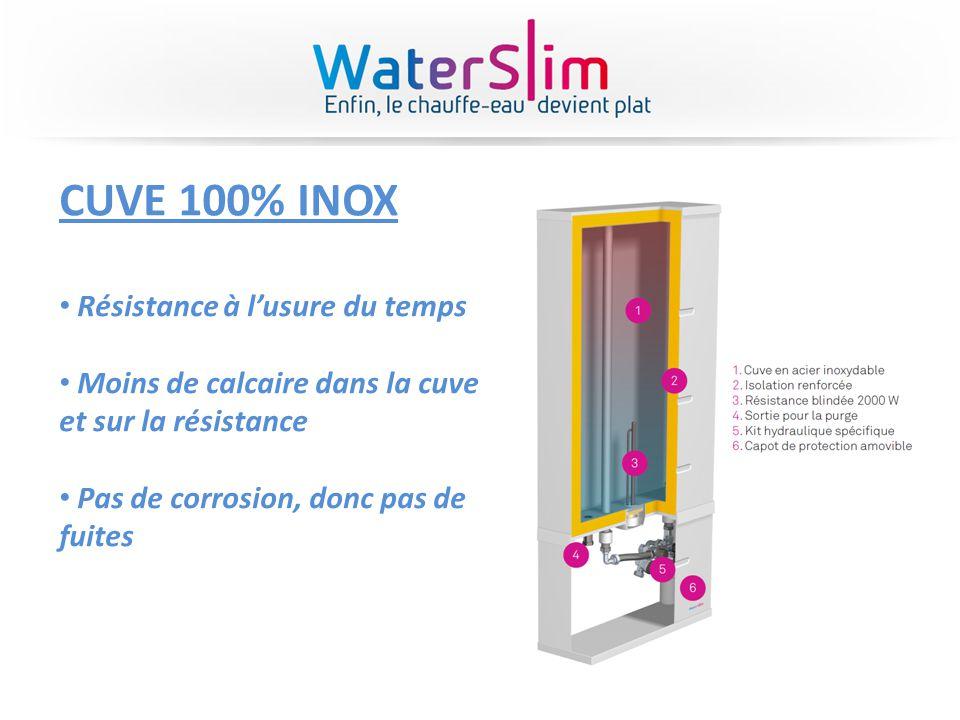 CUVE 100% INOX Résistance à lusure du temps Moins de calcaire dans la cuve et sur la résistance Pas de corrosion, donc pas de fuites