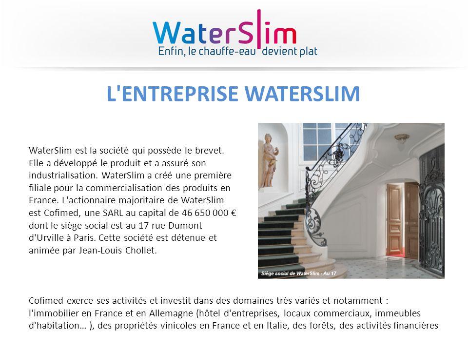 L'ENTREPRISE WATERSLIM WaterSlim est la société qui possède le brevet. Elle a développé le produit et a assuré son industrialisation. WaterSlim a créé