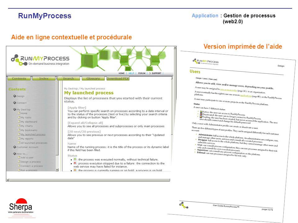 RunMyProcess Aide en ligne contextuelle et procédurale Application : Gestion de processus (web2.0) Version imprimée de laide