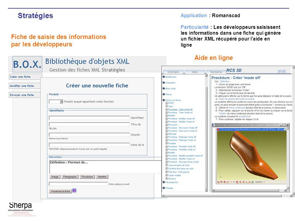 Stratégies Fiche de saisie des informations par les développeurs Application : Romanscad Particularité : Les développeurs saisissent les informations dans une fiche qui génère un fichier XML récupéré pour laide en ligne Aide en ligne
