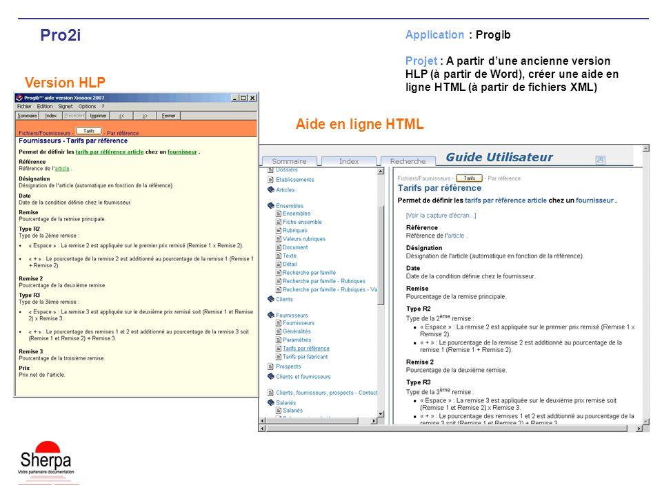 Pro2i Version HLP Application : Progib Projet : A partir dune ancienne version HLP (à partir de Word), créer une aide en ligne HTML (à partir de fichiers XML) Aide en ligne HTML