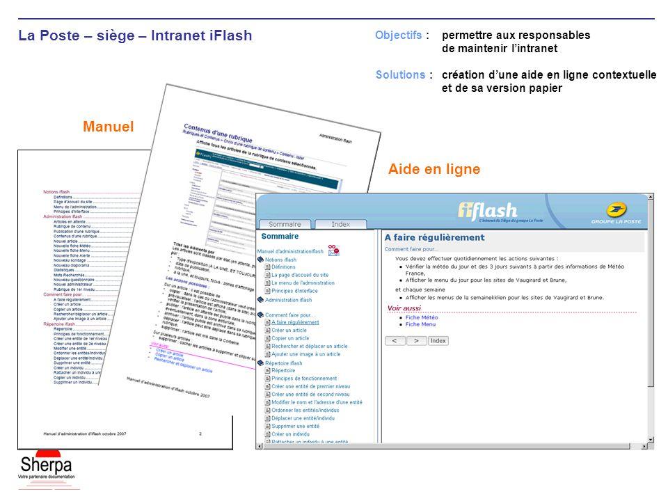 La Poste – siège – Intranet iFlash Objectifs : permettre aux responsables de maintenir lintranet Solutions : création dune aide en ligne contextuelle et de sa version papier Aide en ligne Manuel