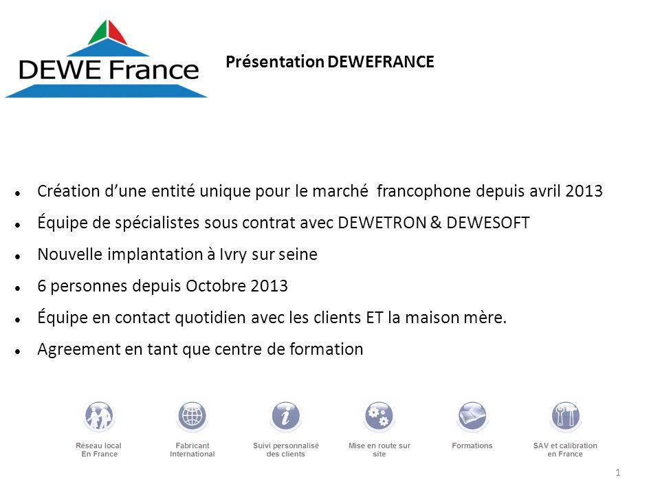 1 Présentation DEWEFRANCE Création dune entité unique pour le marché francophone depuis avril 2013 Équipe de spécialistes sous contrat avec DEWETRON &