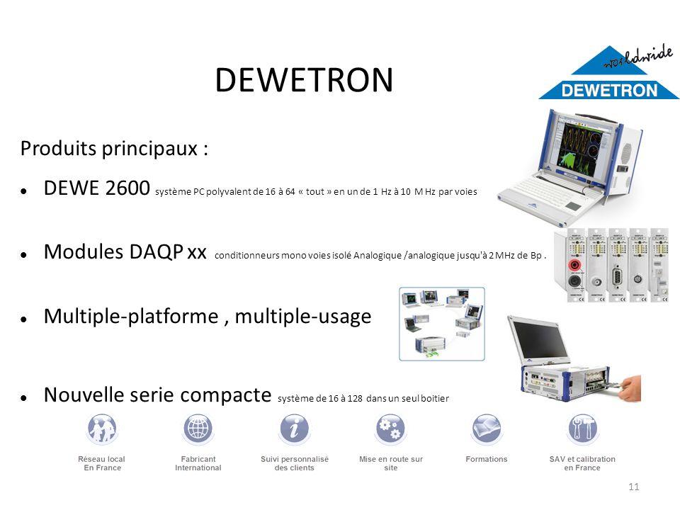 11 DEWETRON Produits principaux : DEWE 2600 système PC polyvalent de 16 à 64 « tout » en un de 1 Hz à 10 M Hz par voies Modules DAQP xx conditionneurs