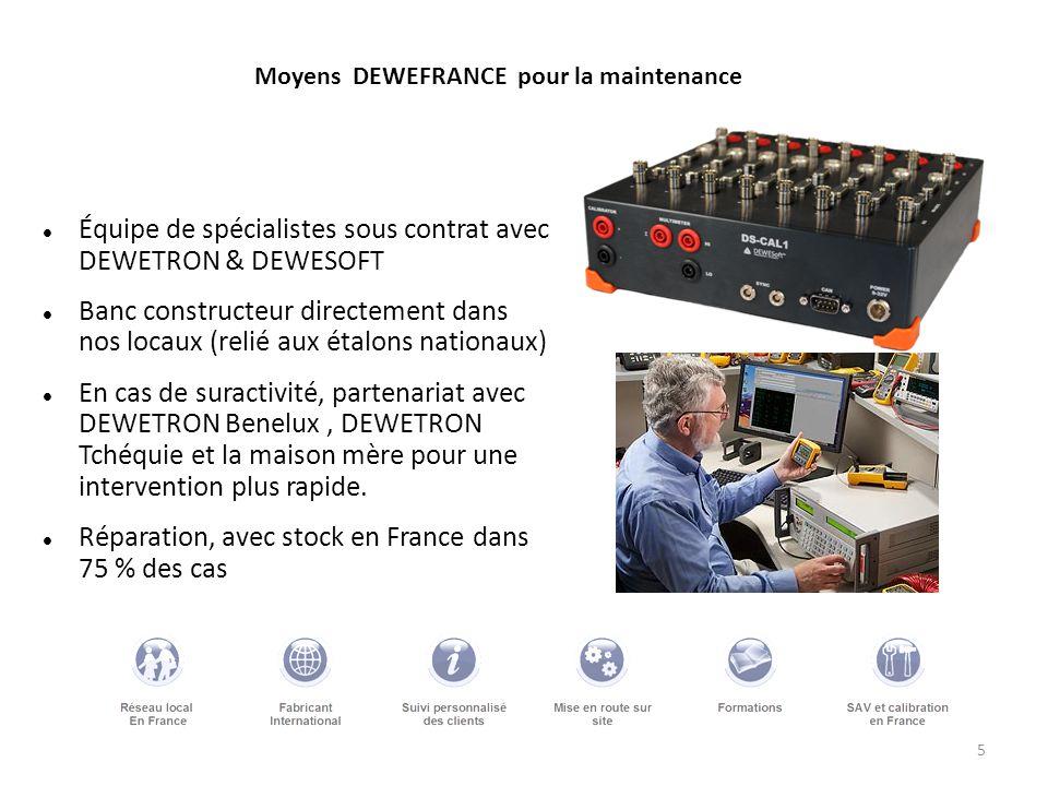 5 Moyens DEWEFRANCE pour la maintenance Équipe de spécialistes sous contrat avec DEWETRON & DEWESOFT Banc constructeur directement dans nos locaux (re