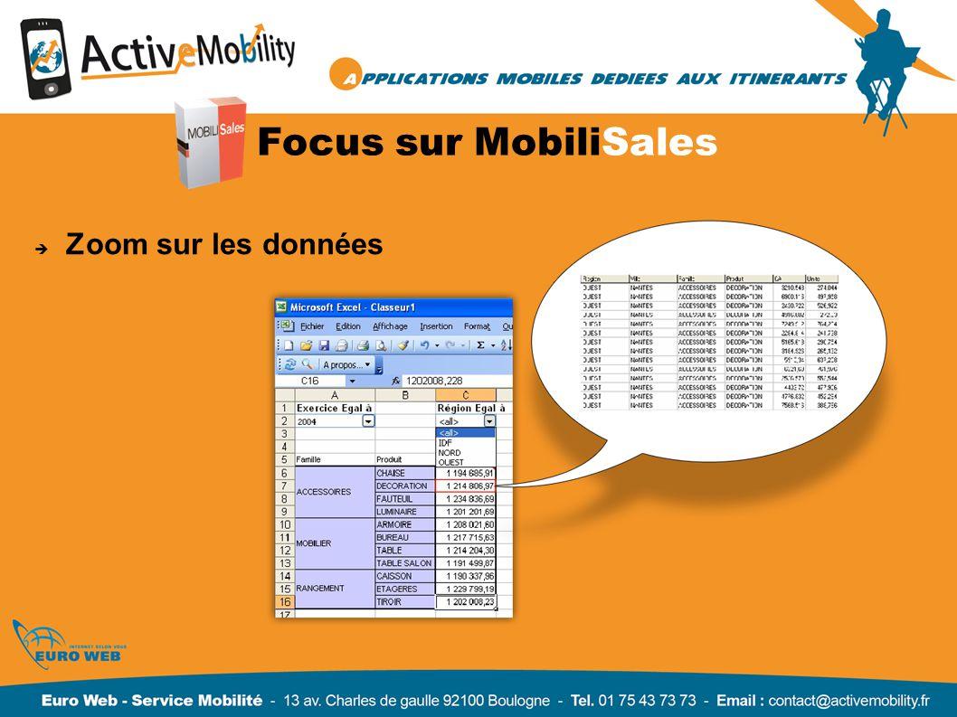 Focus sur MobiliSales Zoom sur les données