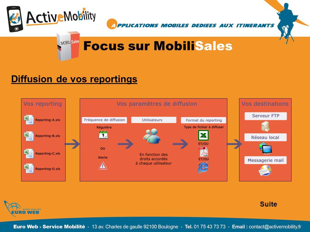 Focus sur MobiliSales Diffusion de vos reportings Suite