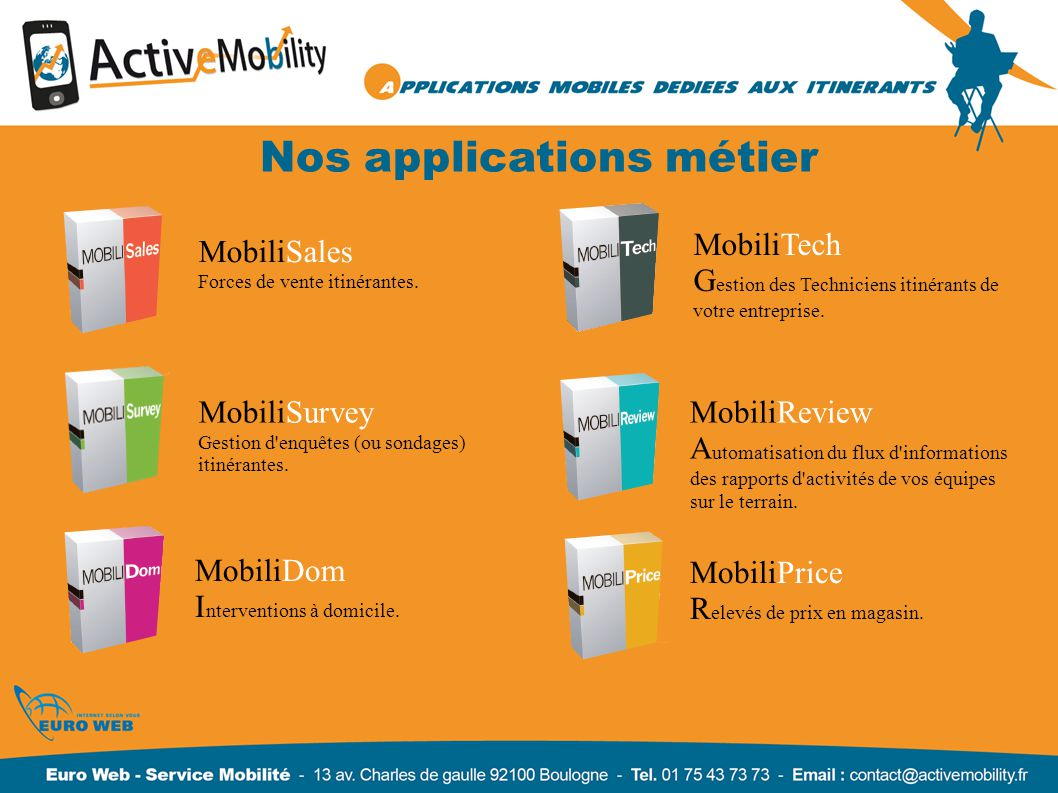 Nos applications métier MobiliSales Forces de vente itinérantes.