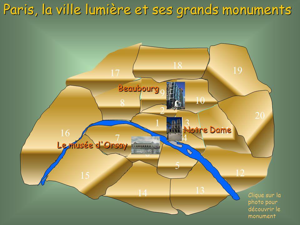 1 2 3 4 5 6 7 8 9 10 11 12 13 14 15 16 17 18 19 20 Paris, la ville lumière et ses grands monuments NotreDame Notre Dame Le musée d'Orsay Clique sur la