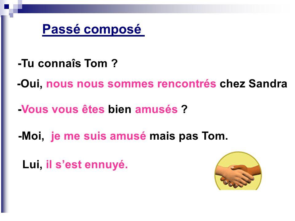 Passé composé -Tu connaîs Tom ? -Oui, nous nous sommes rencontrés chez Sandra -Vous vous êtes bien amusés ? -Moi, je me suis amusé mais pas Tom. Lui,