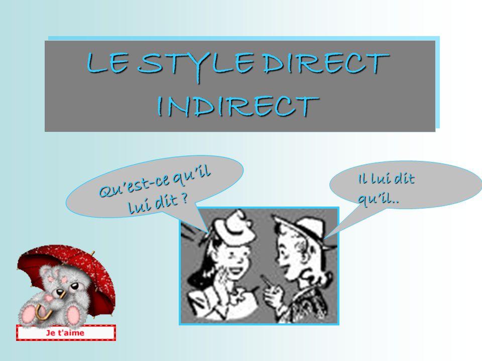 LE STYLE DIRECT INDIRECT Quest-ce quil lui dit ? Il lui dit quil..