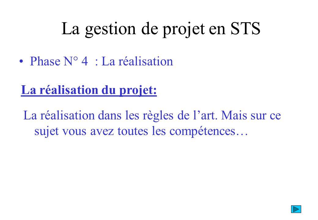 Phase N° 4 : La finalisation La gestion de projet en STS La finalisation du projet: La finalisation, il faut absolument effectuer un « débriefing » du projet pour montrer les solutions de chacun vis à vis du projet initialement fixé.