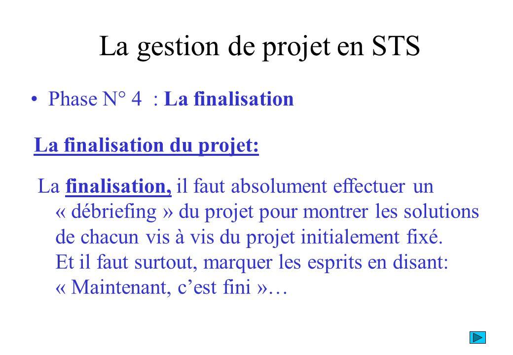 La gestion de projet en STS Le Pilotage.