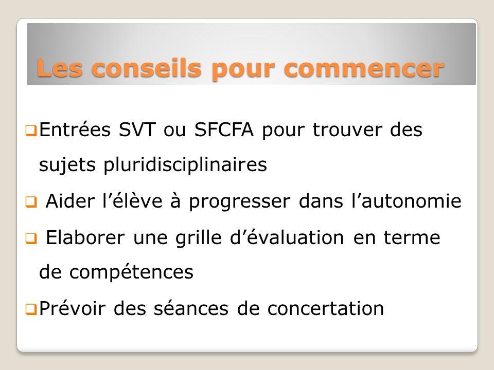 Les conseils pour commencer Entrées SVT ou SFCFA pour trouver des sujets pluridisciplinaires Aider lélève à progresser dans lautonomie Elaborer une grille dévaluation en terme de compétences Prévoir des séances de concertation