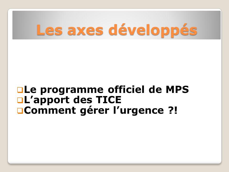 Les axes développés Le programme officiel de MPS Lapport des TICE Comment gérer lurgence !