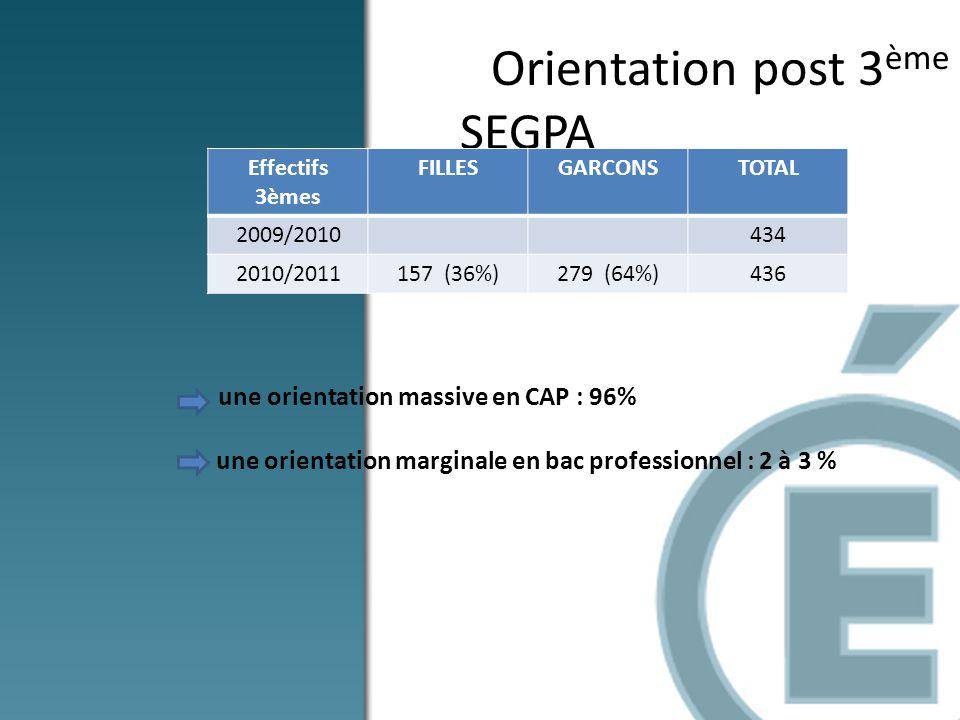 Orientation post 3 ème SEGPA une orientation massive en CAP : 96% - une orientation marginale en bac professionnel : 2 à 3 % Effectifs 3èmes FILLESGAR