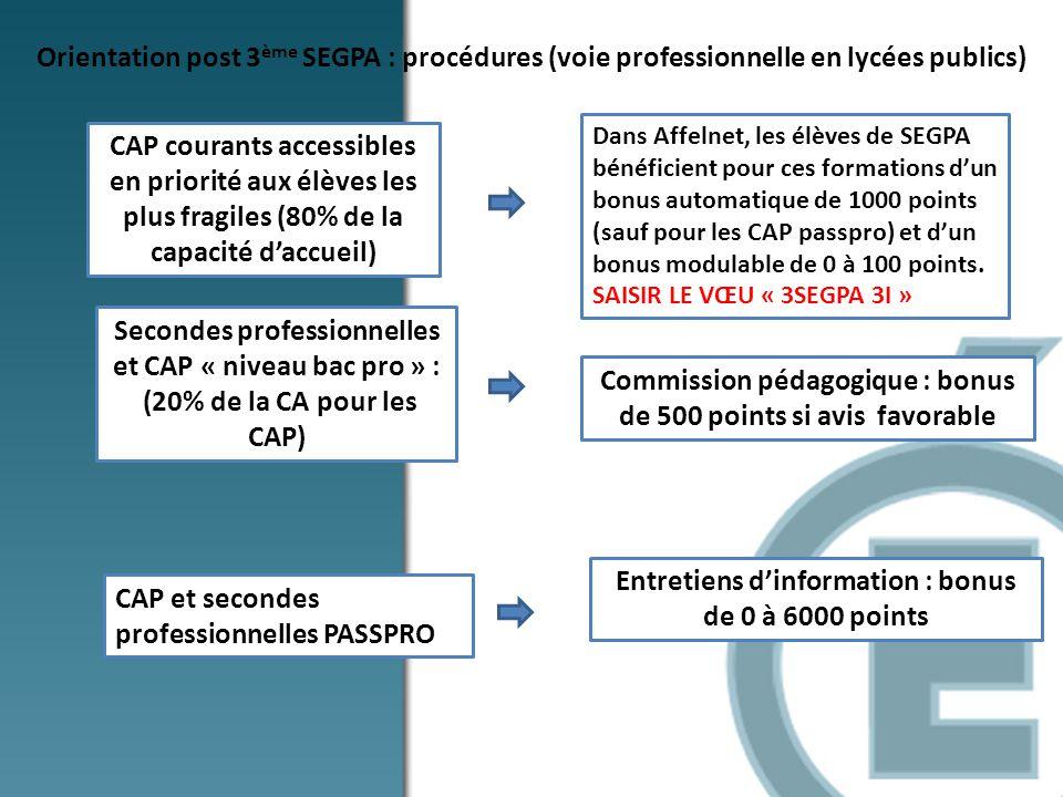 Orientation post 3 ème SEGPA : procédures (voie professionnelle en lycées publics) CAP courants accessibles en priorité aux élèves les plus fragiles (