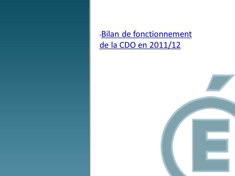 - Bilan de fonctionnement de la CDO en 2011/12 Bilan de fonctionnement de la CDO en 2011/12