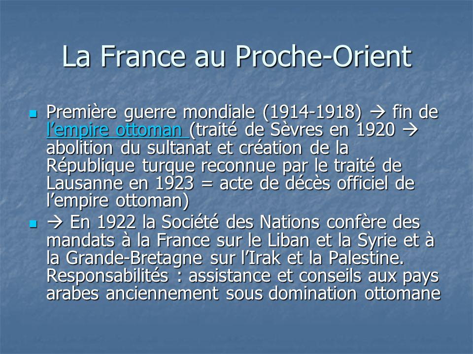 Zones dinfluence de la France au Maghreb et au Proche-Orient (récapitulation) Algérie Algérie Tunisie Tunisie Maroc Maroc Syrie Syrie Liban Liban